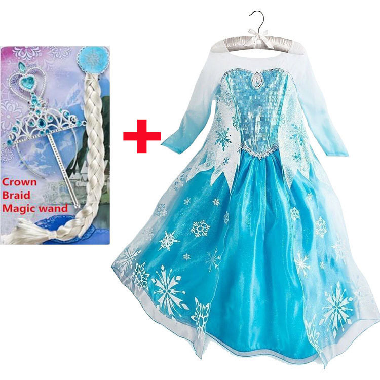 2015 elsa dress girls Cosplay Dress Costume snow queen princess anna Dress Kids party dresses fantasia infantis vestido Menina(China (Mainland))