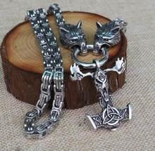 Mężczyźni naszyjnik ze stali nierdzewnej viking głowa wilka z młotkiem thora mjolnir naszyjnik pendan norse talizman biżuteria etniczna(China)