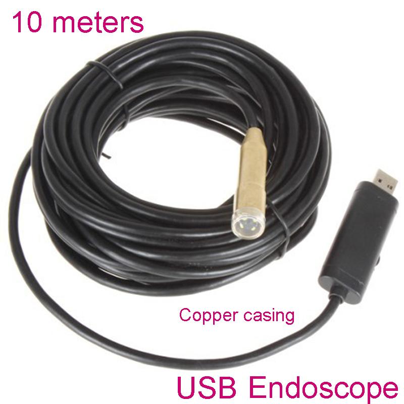 10 meter 14mm USB Industry Endoscope Copper camera 4 LEDs Waterproof endoscopio Borescope Inspection usb Camera tube snake Cam(China (Mainland))
