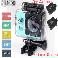 mini camcorders Full HD DVR SJ4000 video Sport go camera extreme Sport Helmet Action Camera 2 battery