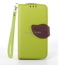 Leaf Style Leather Case For Samsung Galaxy Trend Duos S7562 s7560  S Duos S7582  Trend Plus S7580 Flip Cover Wallet Case Cover