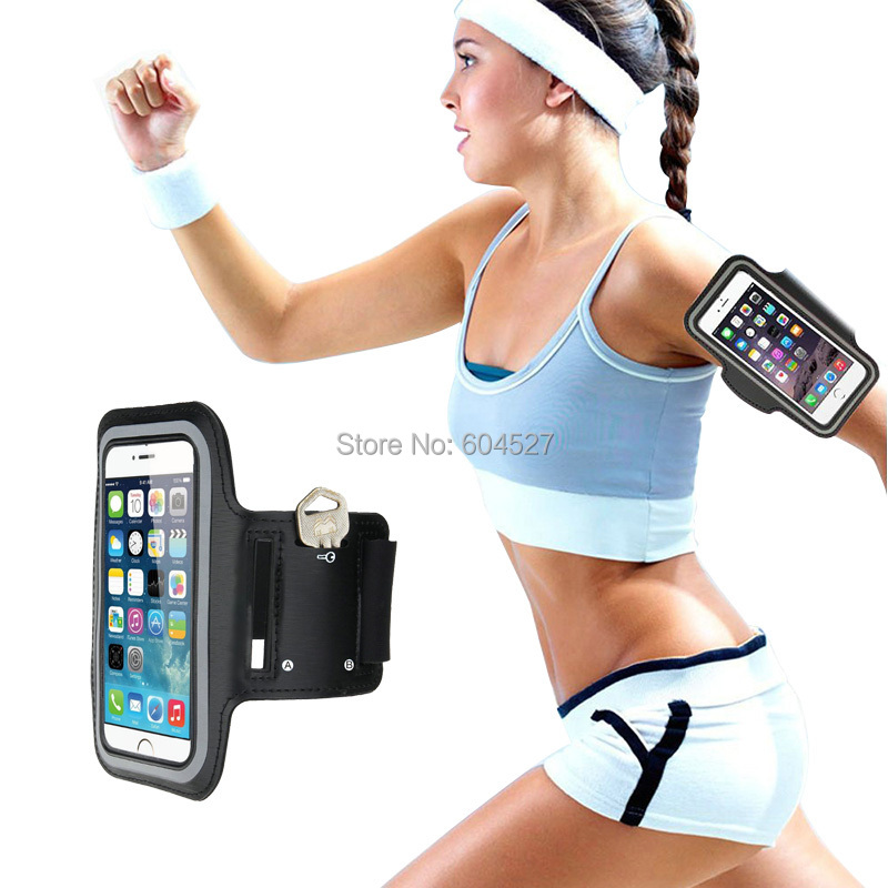 Universal Running gym bag Neoprene Sport Arm band black Case cover For Samsung Galaxy s6 s6 edge s5 For iphone 6 5 with key slot(China (Mainland))