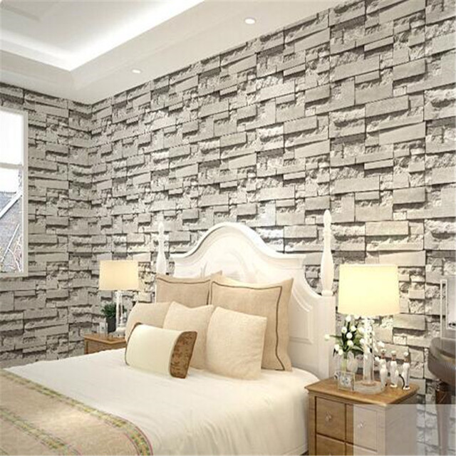 Gray brick imitation custom mural walpaper free shipping for Bedroom w brick wall