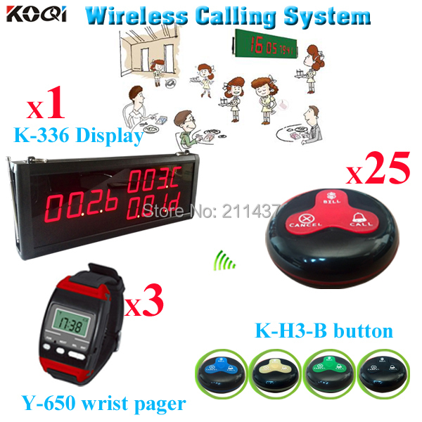 Restaurant Waiter Server Paging System 1 big LED Monitor 3 watch pager 25 waterproof bell button DHL Free Shipping(China (Mainland))