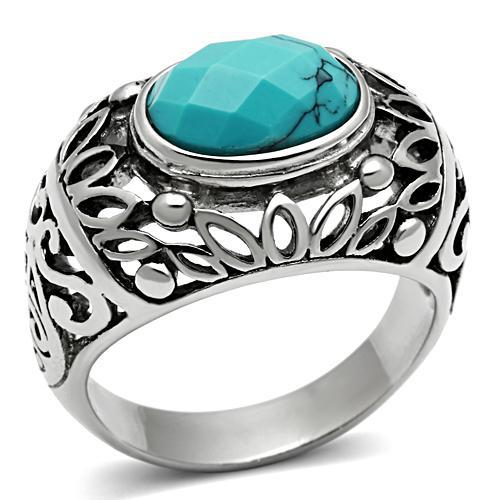 joan chan's jewelry store Finger Rings Men Turquoise Fashion Rings Popular Stainless Steel Anniversary Rings(China (Mainland))