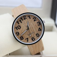 New Fashion Brand Bamboo Wood Women Watch 6 Colors Leather Strap Wristwatches Classical Men Dress Watch
