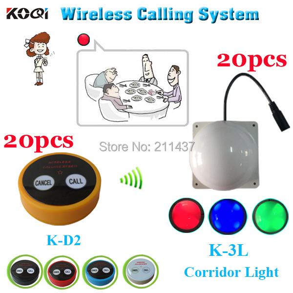 Wireless service call button pager koqi K-D2 bell for client in the private rooms and K-3L room light for waiter in the corridor(China (Mainland))