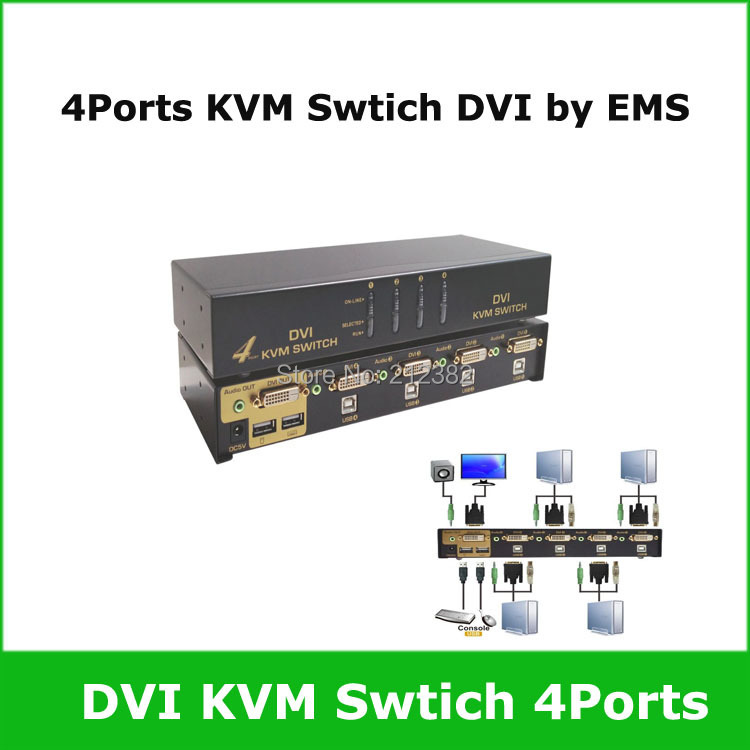 4 Ports USB DVI KVM Switch, KVM DVI switch 4ports via EMS(China (Mainland))