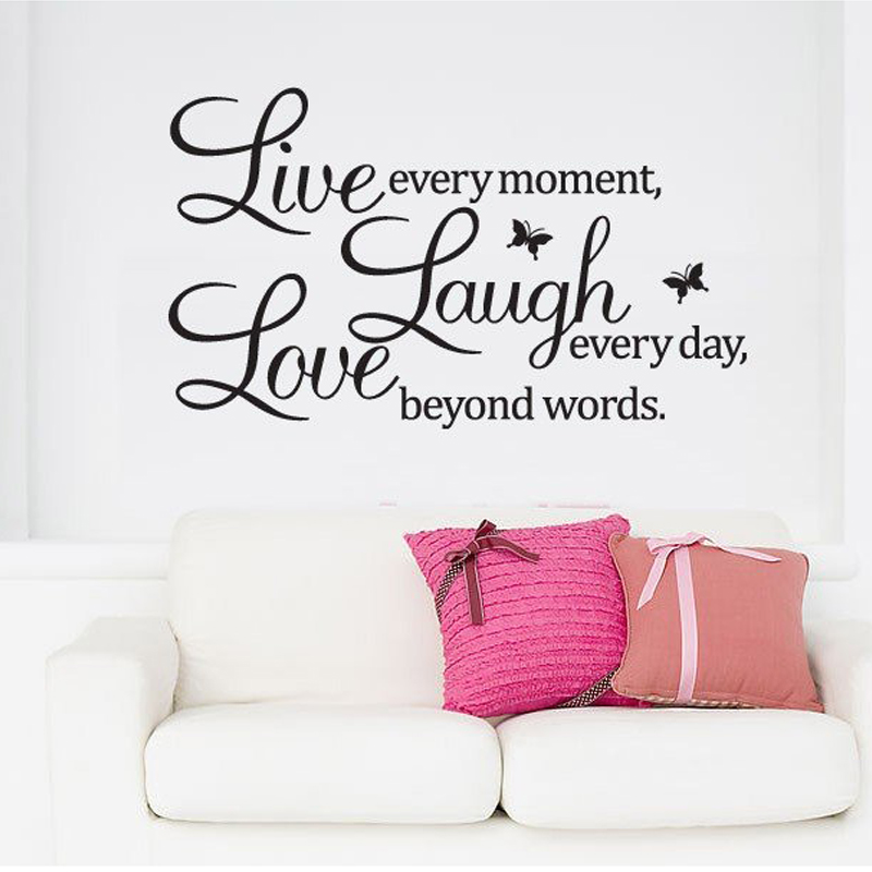 Pvc home decor wall stickers live love laugh letters for Live laugh love wall art