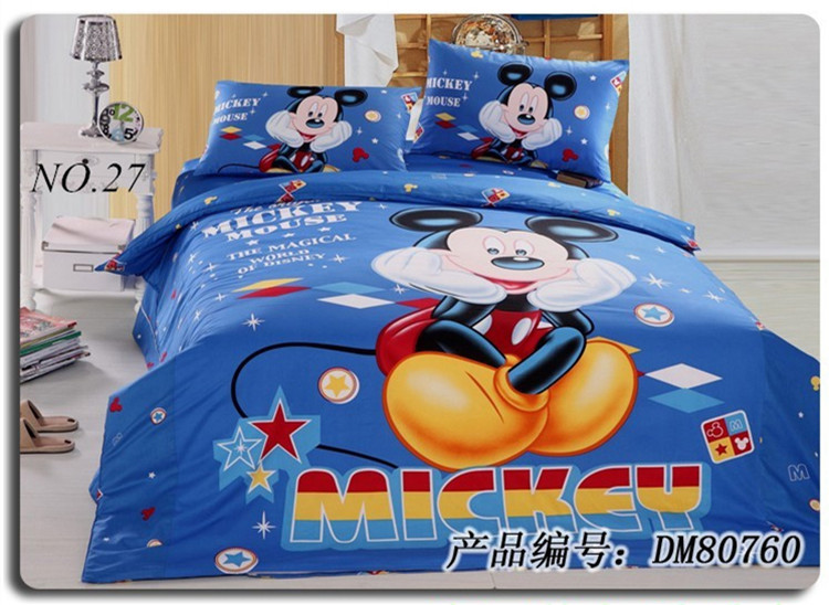 Free Shipping China High Quality Best Cotton Bed Set Mickey Minnie Twin Full Queen 4PCS Mickey Mouse Full Size Bedding Sets(China (Mainland))