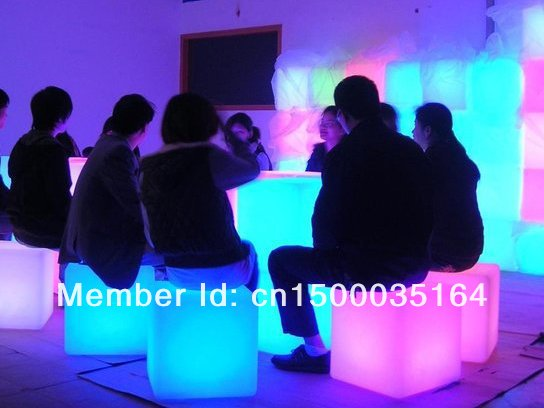 3PCS Free Shipping led illuminated furniture,waterproof outdoor led cube 30*30CM chair,bar stools, LED Seat for Christmas BY EMS(China (Mainland))