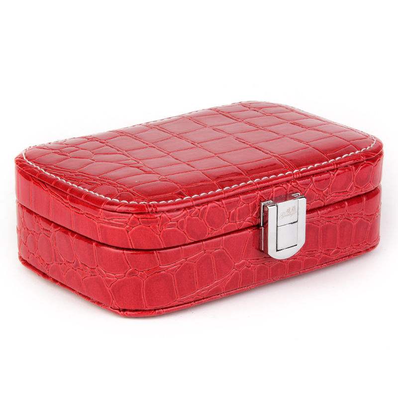 Fashion Women Alligator Grain Accessories Ornaments Box Sweet Colors Gift jewelry Display Organizer Carrying Case Casket Boxes(China (Mainland))