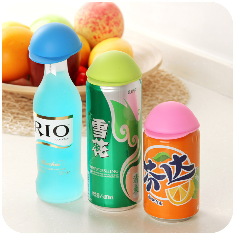 Japanese cute hat cans closures, Coke Lids silicone dust lid K2491(China (Mainland))