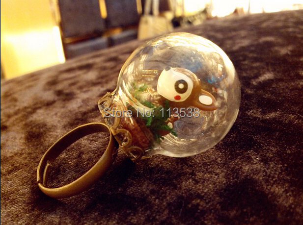 Free Ship! 50sets/lot 30*20mm glass globe with antique bronze lace ring setting findings set glass bubble DIY vial pendant<br><br>Aliexpress