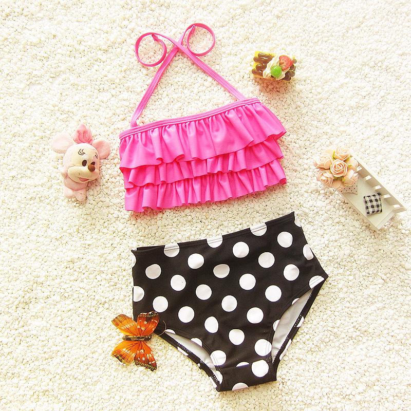 Kawaii Pink Girls Bikini Set Infant Girl Swimming Suit Children Two Pieces Swimwear Baby Beach Suit Pink Top + Black Dot Pants(China (Mainland))