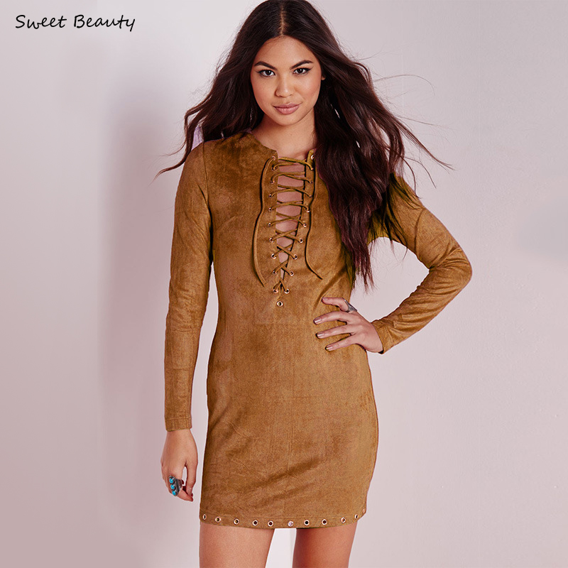Faux Suede Dress 2016 Casual Women Spring Fashion Front ...