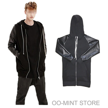 Space Cotton Long Extended PU Leather Sleeve Man Hoodie hoody Sweatshirt Men Hip Hop Justin Bieber Clothes Clothing Swag  Cool(China (Mainland))