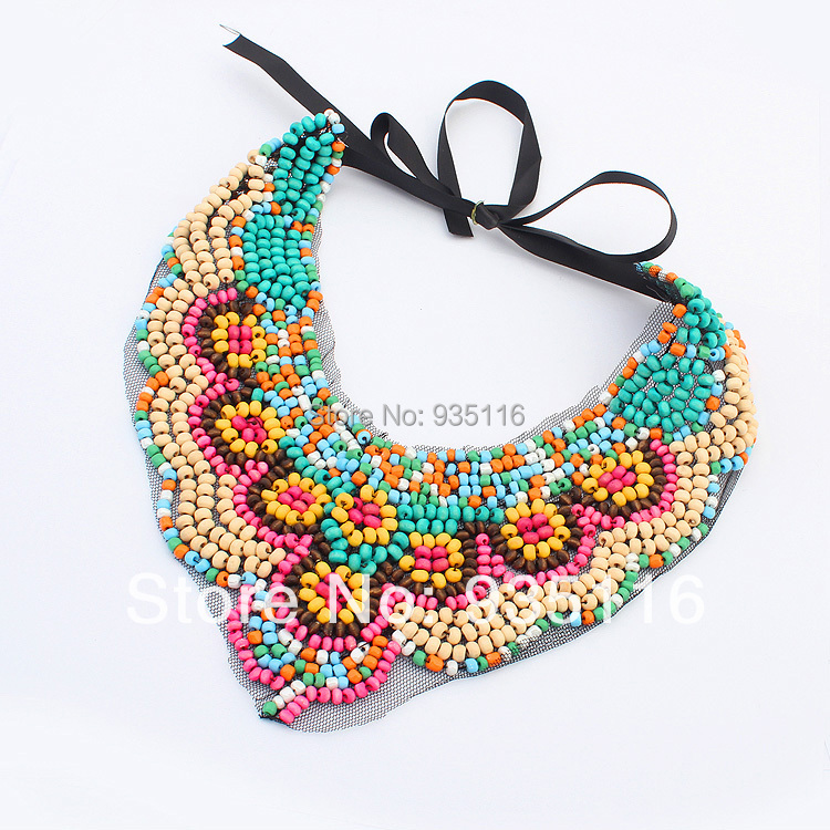 Boho Chic Bohemian Necklaces Pendants Rainbow Big Bead Necklaces For Women Fashion False Collar Jewlery Accessories
