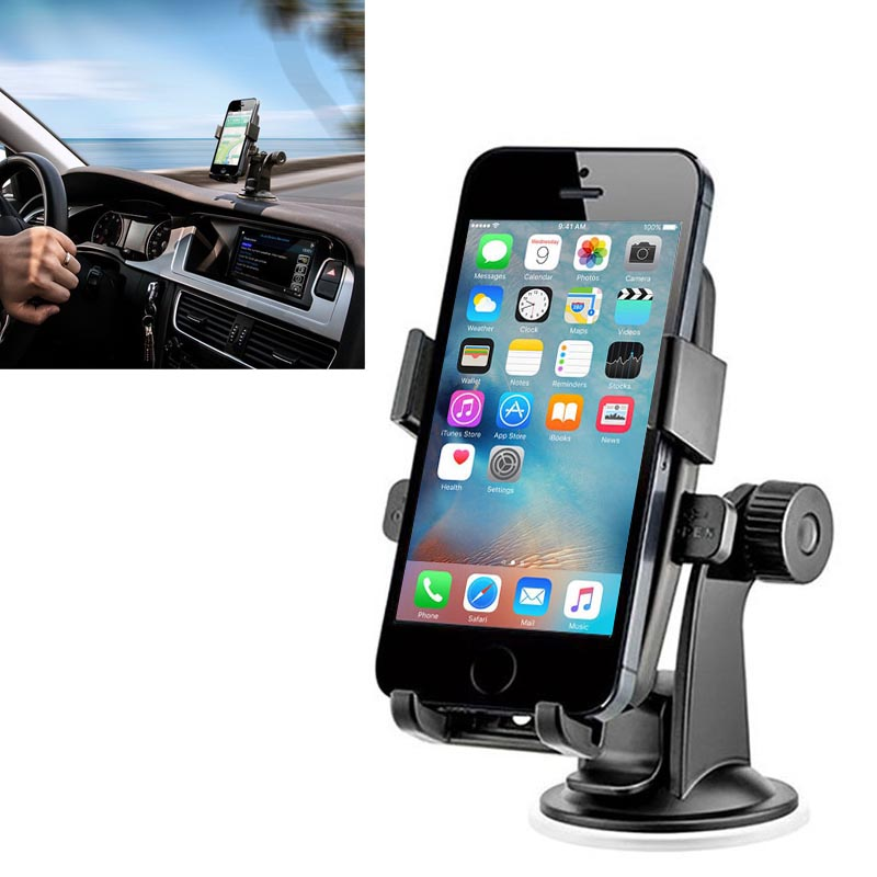 Universal 360 Degree Rotation Suction Cup Car Mount Holder for iPhone SE 6 6S Plus 5S 4S Desktop Stand for S7 S6 All Smartphones(China (Mainland))