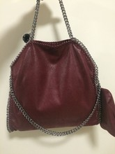 High Quality factory sale Shaggy Deer PVC 3 Chain red wine color Ladies Handbags Fashion Tote Soft Women Shoulder Handbags(China (Mainland))
