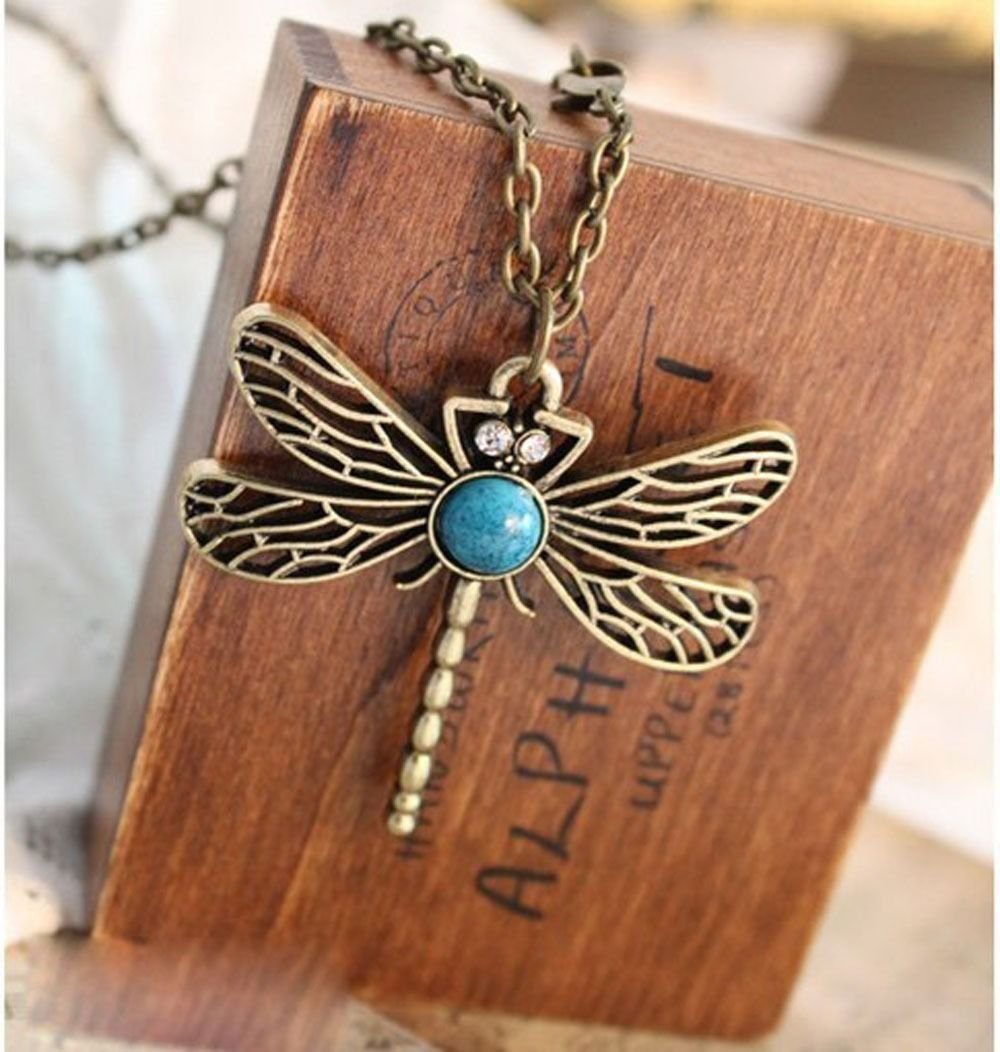 Womens Retro Pendant Necklace Style Dragonfly Long Sweater Chain Costume Jewelry(China (Mainland))
