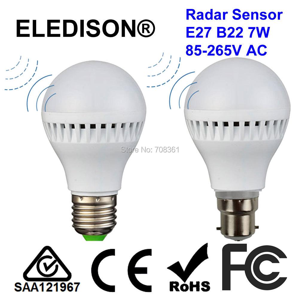 ELEDISON (2-Pack) Motion Sensor B22 LED Globe Night Light 7W Bayonet Base Microwave Radar Sensitive Stair Courtyard Lighting(China (Mainland))
