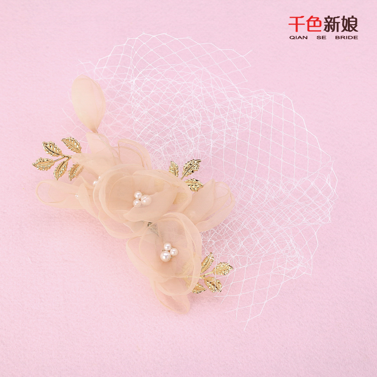 New Fashion Bride Headwear Cage Veil Handmade Wedding Veil Netting Face Silk Floral Bridal Hats Wedding