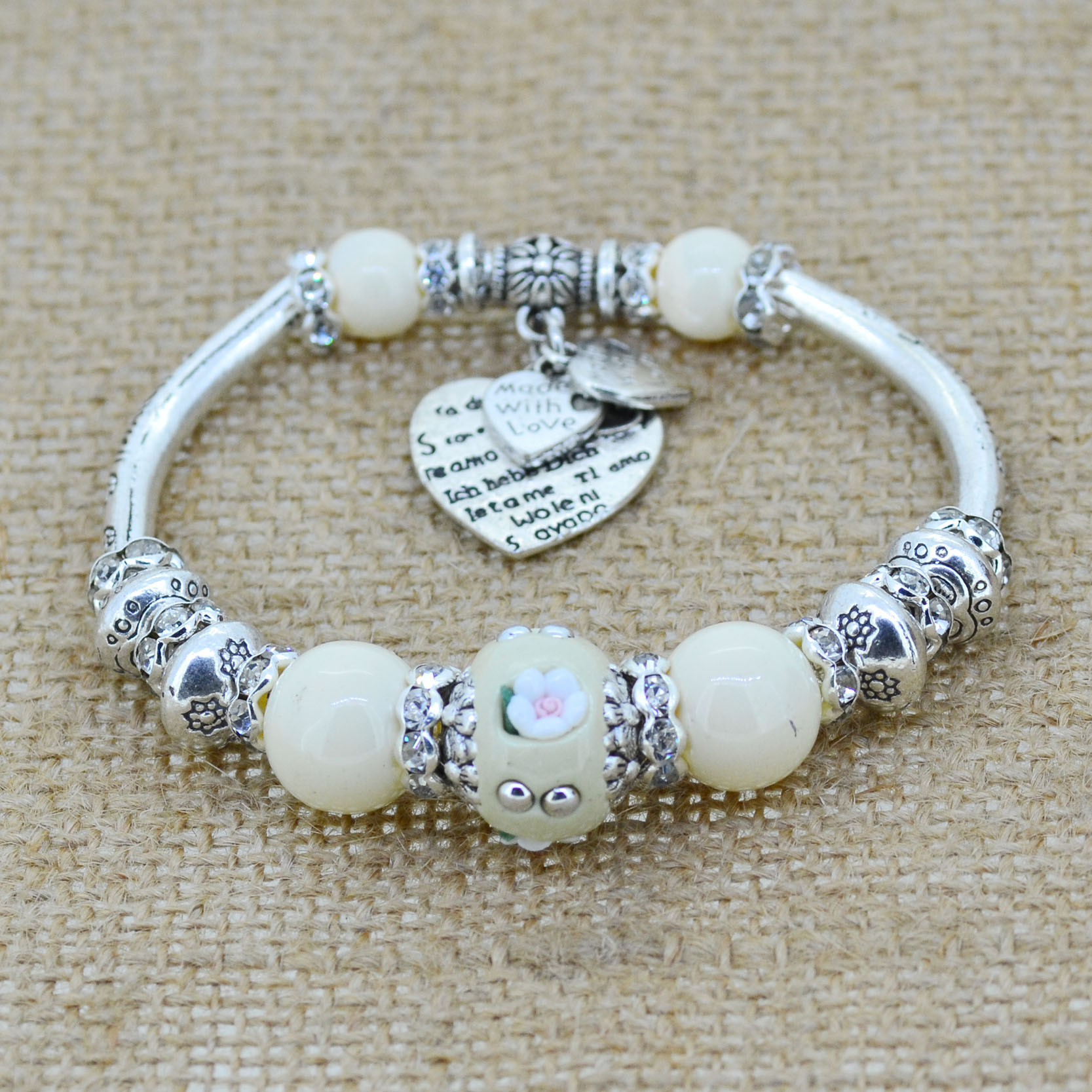 Fashion jewelry silver love heart charm bracelet bangles glass beads