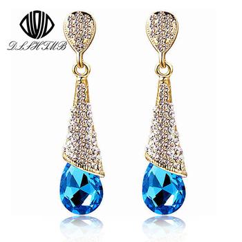 Fashion Brand Alloy 18K Gold Plated Statement Austria Blue Crystal Long Earrings Rhinestone Water Drop Elegant Earring Jewelry