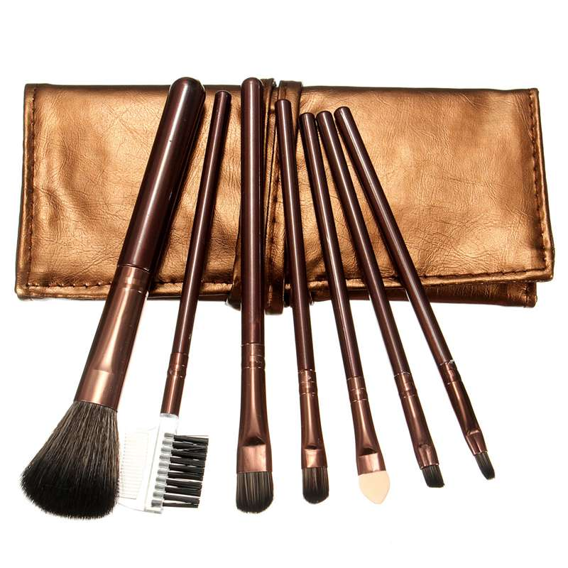 New Arrival 7pcs Professional Cosmetic Brushes Sets Lip Eyebrow Shadow Blush Brush Portable Makeup Beauty Tools With Bag Hot(China (Mainland))