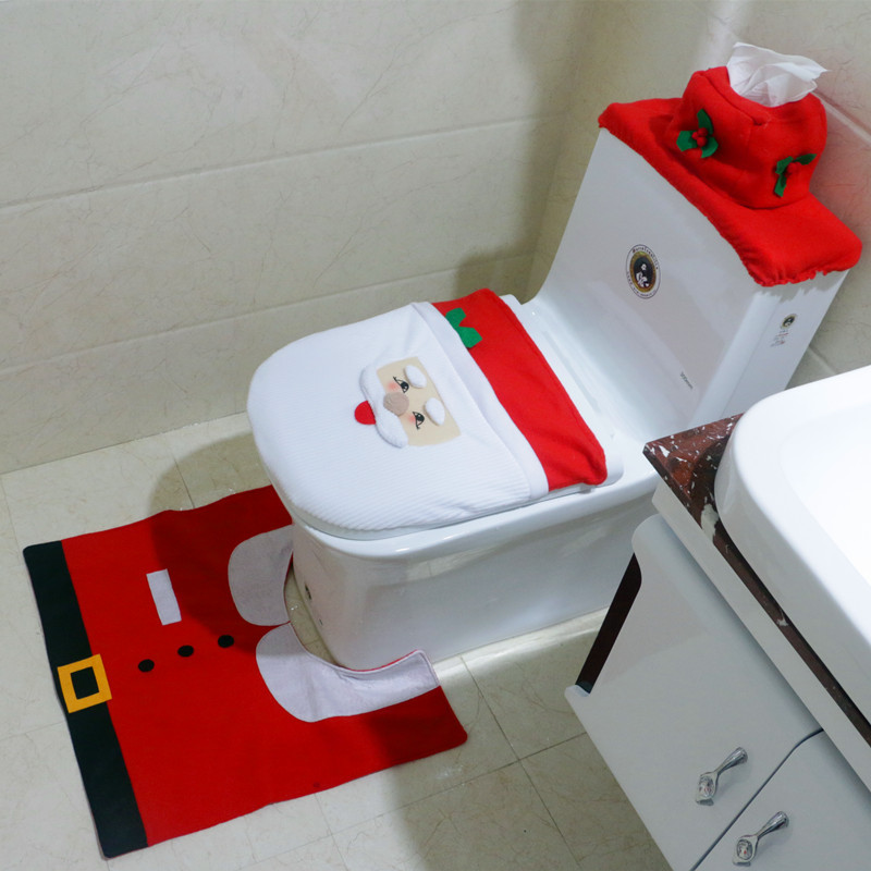 3 pcs set santa claus toilet sets seat cover and rug bathroom christmas toilet set santa claus - Model deco wc ...