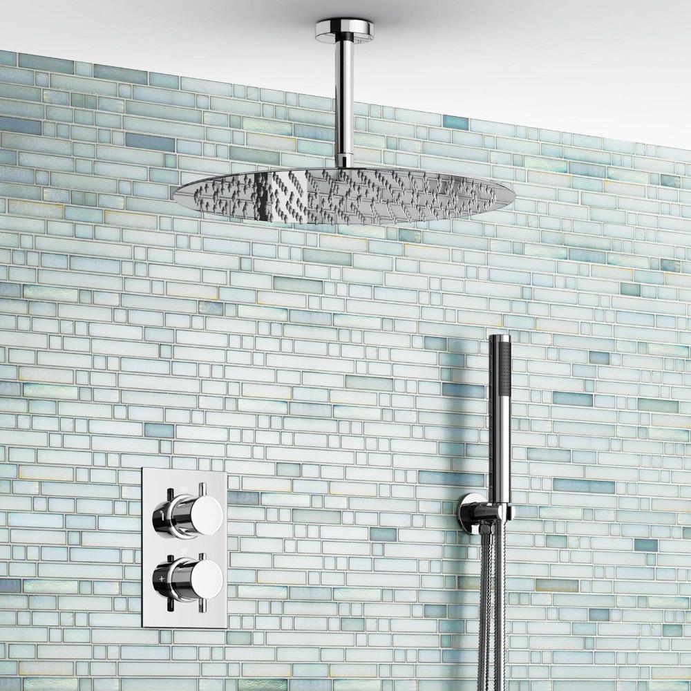 "16"" Ceiling Round Mixer Thermostatic Shower Set Ultra Thin Head Bathroom Chrome Valve Set(China (Mainland))"