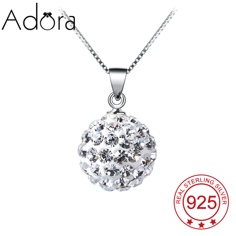 Pure 925 Sterling Silver Pendant Necklace Platinum Plated Crystal African Beads Jewelry Christmas Gift(China (Mainland))