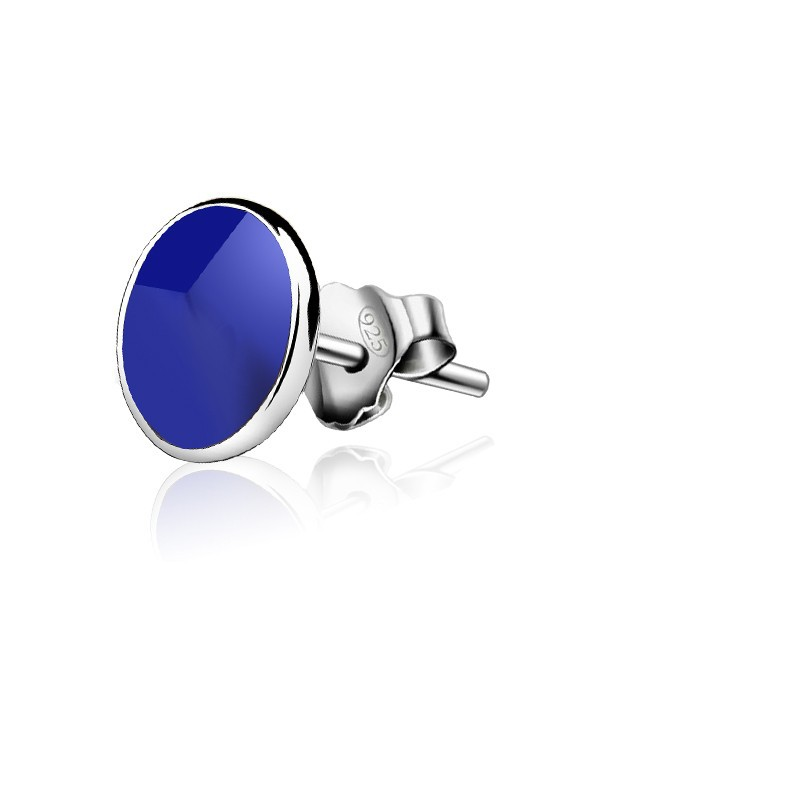 2016 S925 sterling silver girl earrings Celebrity the influx of black men and women fashion jewelry white round blue ear earring(China (Mainland))