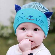 1PC 2016 Hot Soft Cotton Baby Hat Lovely Cat Stripe Beanie Winter Toddler Infant Newborn Kids Cap Boys Girls Hat Accessories QLM