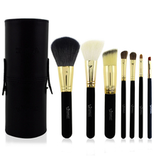 Free shipping 1 set with 7pcs black  make up  brushes professional high quality ornament and kits with PU cylinder  of makeup