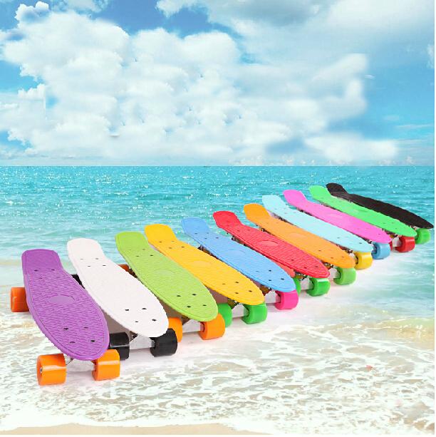 2015 DIY Pastel Color Penny Style Skateboard 22Inch Complete skating mini longboard Gift Retro Cruiser fish long board skate(China (Mainland))