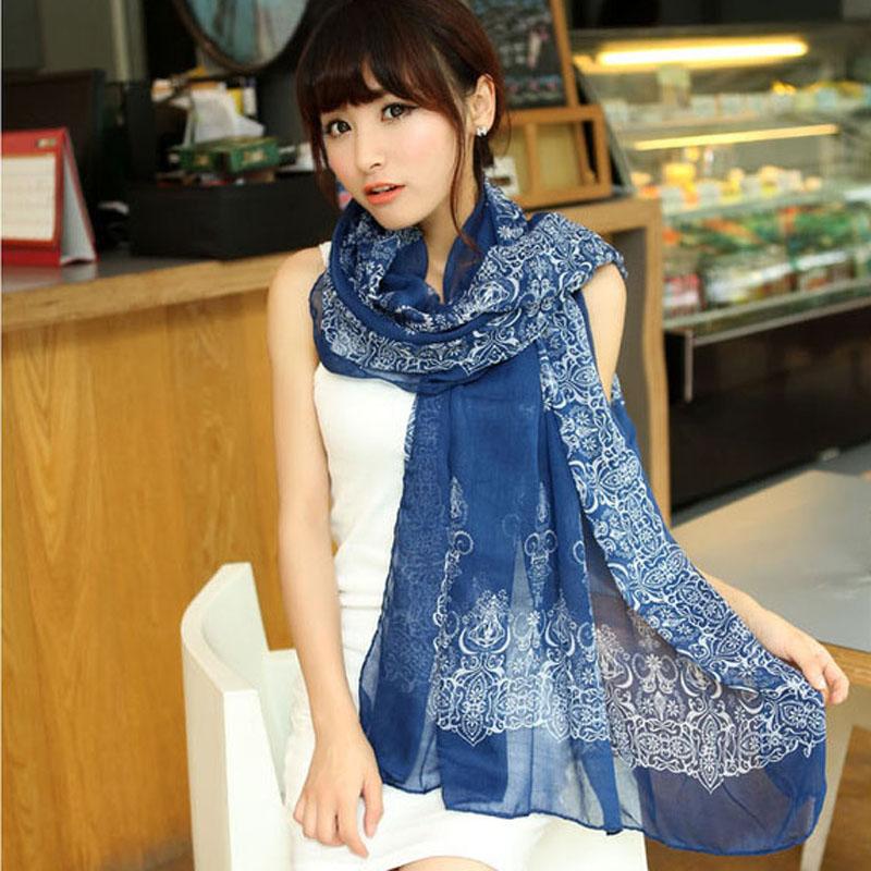 2016 New Fashion Scarf Pashmina Women's Long Shawl Printed Silk Chiffon Scarves Tippet Muffler 1S017(China (Mainland))