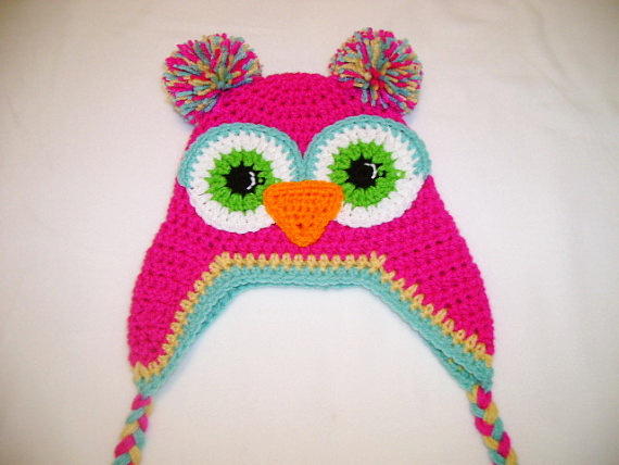 free shipping, 100% cotton crochet girls owl hats kids girls baby handmade hat crochet knitting animal cap owl hat girls beanie(China (Mainland))