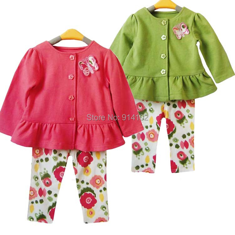 Free/Drop Shipping 1 set Fashion Baby Girls Clothing Sets Spring/Autumn toddler girl 2 PCS Suit Coat + Flower Pants kids Wear(China (Mainland))