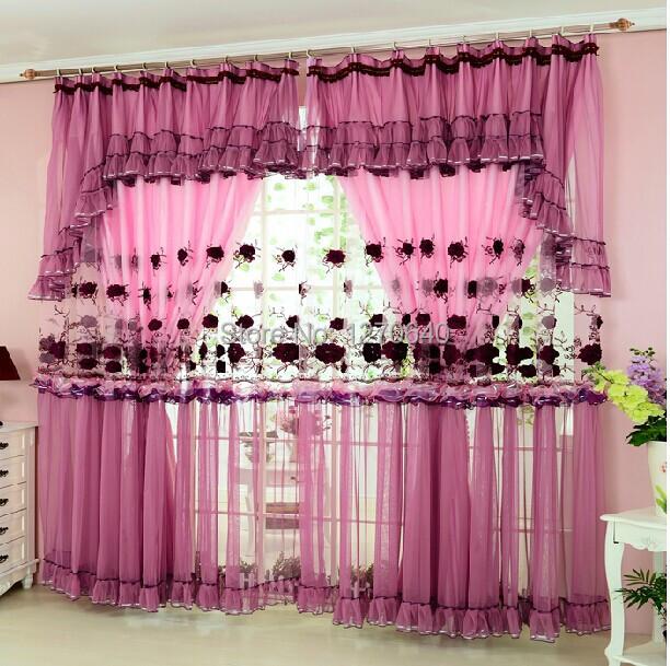 maison parfaite Rose motif de broderie rideau pour fille salon moderne ...