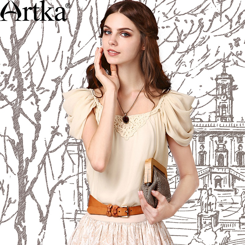 Artka Women's Summer Vintage Solid Color Chiffon Shirt Elegant Square Collar Puff Sleeve Appliques Decoration Blouse SA18052X(China (Mainland))