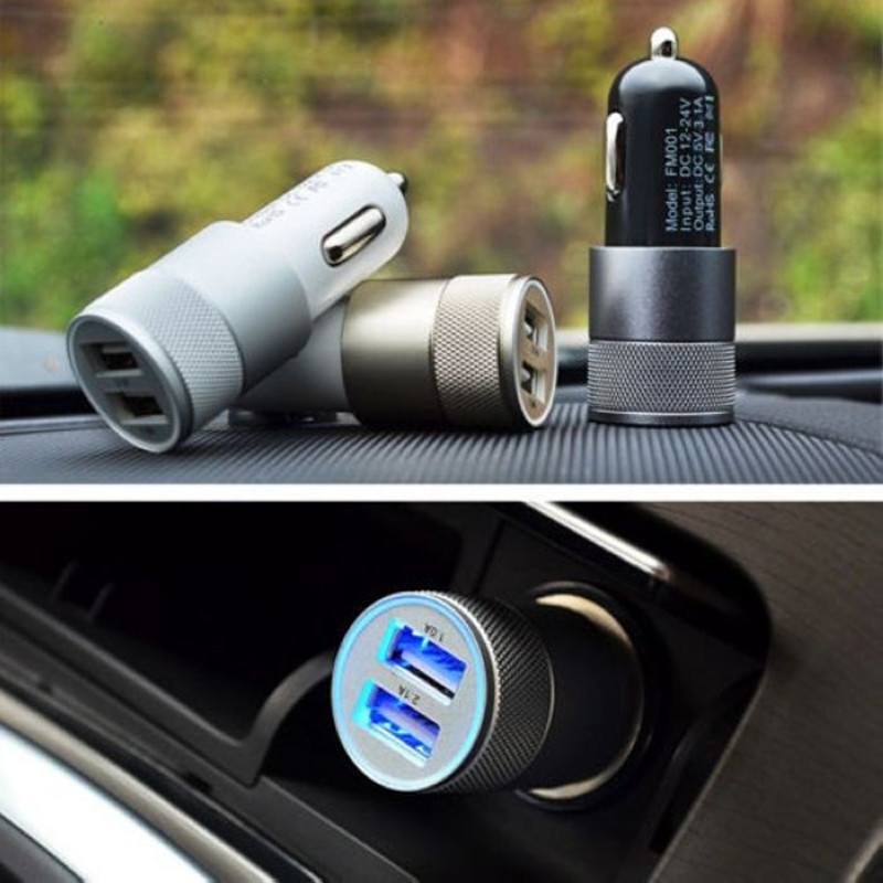 2.1A Micro Auto Aluminum Dual USB Car Charger For Xiaomi Mi4 M3 M4i Red rice Note 2 Oneplus two one other phones Car-charger