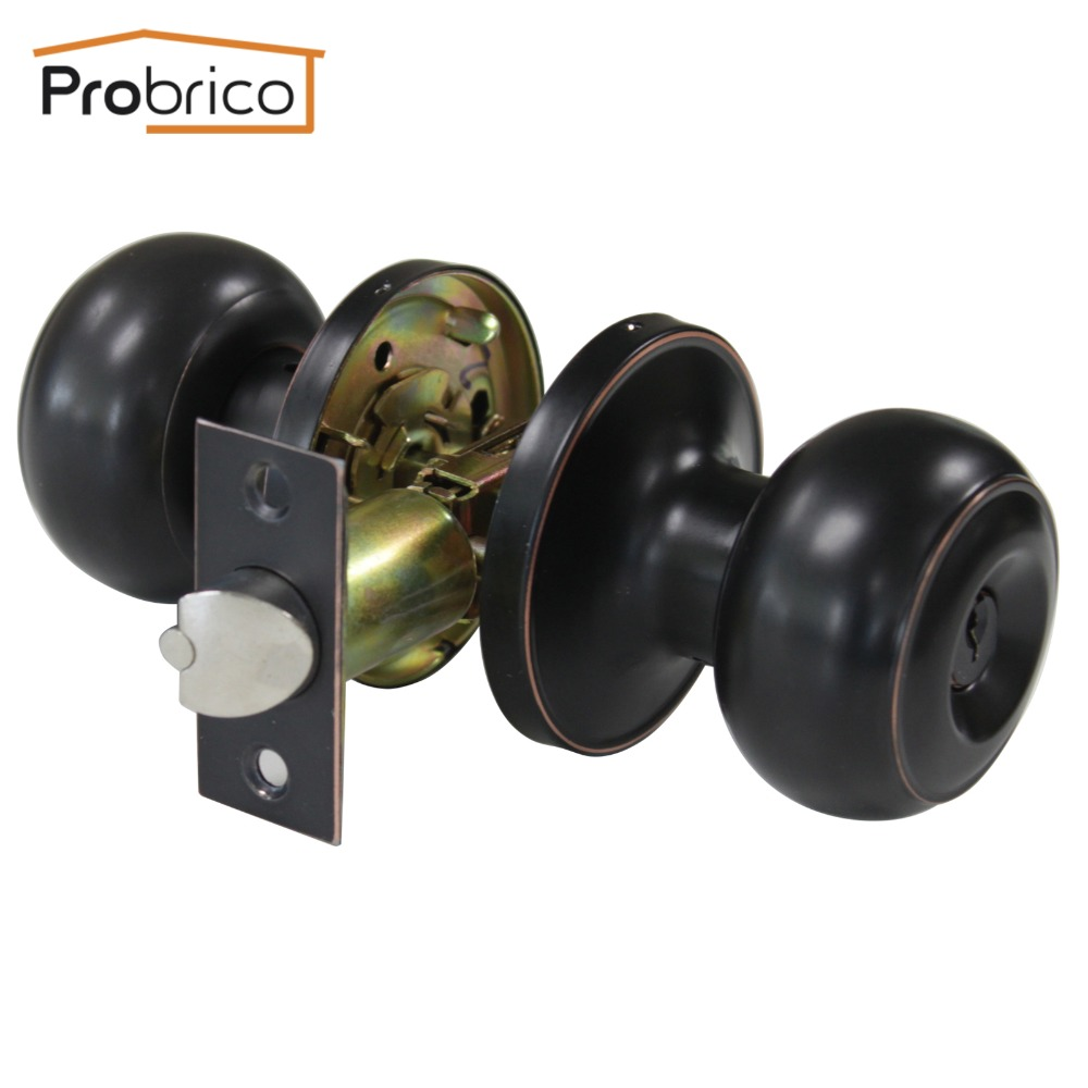 Probrico Wholesale 10 PCS Stainless Steel Safe Lock Door Lock With Key Oil Rubbed Bronze Door Handle Entrance Locker DL609ORBET(China (Mainland))