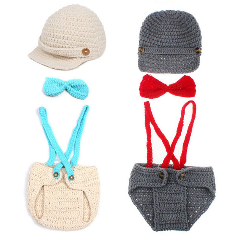 Little Gentleman Outfit Knitted Baby Beanie Hat with Suspenders Bow Tie Set Boy Newborn Photography Props