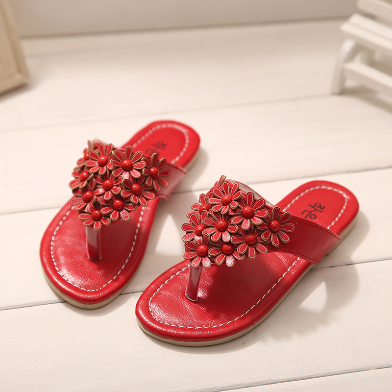 2015 Hot Sale Girls Princess Summer Sandals Children Flower Flip Flops Slippers Kids Shoes pantufa infantil flower sandals(China (Mainland))