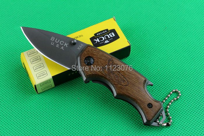440 57HRC blade wood handle OEM Buck X44 small mini utility folding pocket knives camping hunting