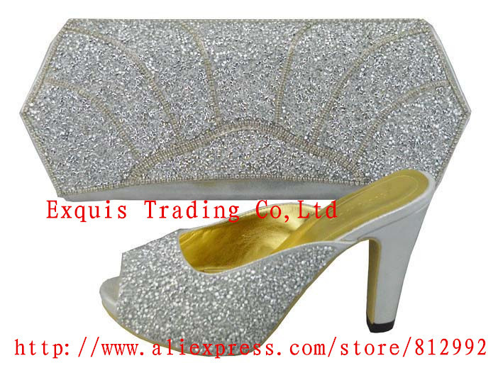 FREE SHIPPING!fashion woman matching shoe and bag set for wedding and party,high quality italian design in silver color,1308-32<br><br>Aliexpress