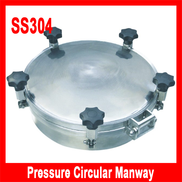 450mm SS304 Circular handhole cover with pressure, Round manway door, manhole cover, Height:100mm(China (Mainland))