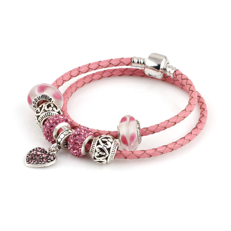 summer style pink genuine leather bracelet chain fit